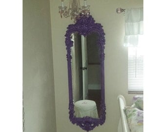 ORNATE Mirror, Dressing Mirror, Purple Mirror ,Long, Leaner,  Shown in Purple with pink. Size 61 x 20, Choose Color