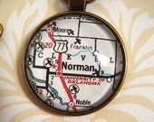 Custom Order for amhulmeuk - Norman University of Oklahoma Vintage Map Pendant Necklace, Map Jewelry, Charms, Cuff Links, Gift Ideas