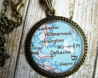 Custom Map Jewelry, Kilmarnock Deltaville Virginia Tidewater, Vintage Map Pendant Necklace, Map Jewelry, Map Cuff Links, Gift Ideas