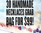 Mixed Lot of 30 Wholesale Handmade Necklaces (30pcs) Variety of Gemstone, Druzy, Metallic Pendant + Chains / Perfect for Gifts or Resell!