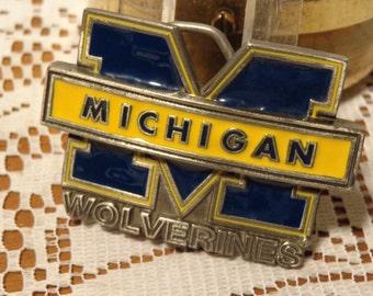 Vintage Brass Michigan Belt Buckle  -  Wolverines Belt Buckle  -  14-0097
