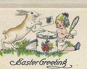 White Easter Bunny Delivers Greetings to Young Girl Powdering Her Nose – Sweet Embossed Vintage Easter Postcard S Bergman 1917