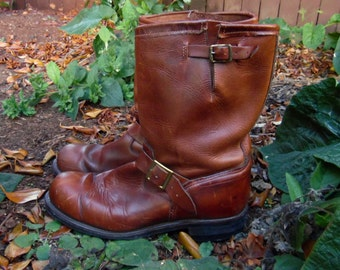 70s/80s Brown Leather Durango Western Riding Cowboy Ranch Work Motorcycle Boots Mens 13