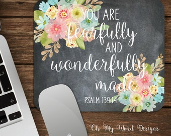 Psalm 139:14 Mouse Pad-Distressed Mouse Pad-Personalized Mouse Pad-Desk Accessories-Floral Mouse Pad-Watercolor Flowers