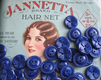 Vintage Two-Sided Royal Blue Buttons...new old stock...1940...lot/50