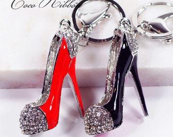 Rhinestone crystal High Heel Fashion Shoe Bag Purse Gold Alloy Key Chain Ring Keychain ~ Red / Black H08
