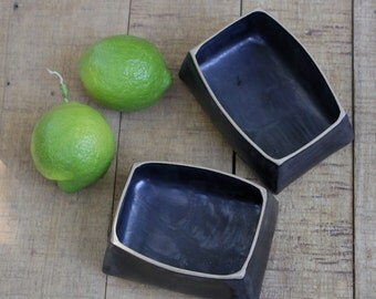 set of 2 black box like dishes, black dishes, rectangular serving dishes