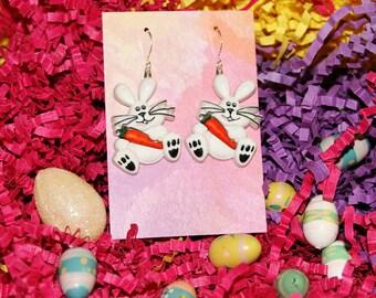 easter earrings easter bunny earrings easter brockus creations holiday earrings