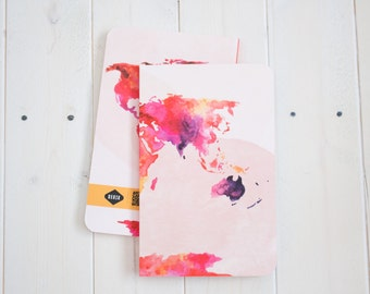 World Map Lined Notebook, blank