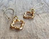 Gold Quatrefoil Earrings, Romantic Jewelry, Simple Gold Earrings, Moroccan Earrings, Gold Drop Earrings, Bohemian Earrings, Bohemian Jewelry