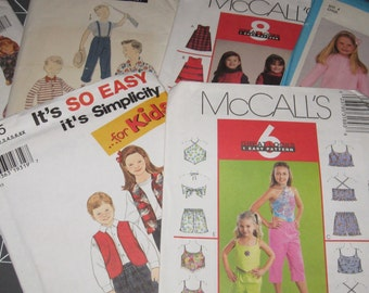Sewing Crafting Patterns in Childrens size Boys Patterns Girls Patterns Simplicity 7295, 9250 McCalls 3189, 3821 Butterick 6373 Advance 8069