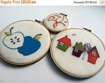 Christmas in July Sale Hand Embroidered Houses Apple Ginkgo hoop art, home decor, housewarming gift, wedding gift, wool felt applique, fiber