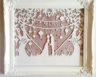 Personalised wedding paper cut love couple framed art