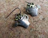 Far Fetched Sterling and Brass Earrings Watering Can with Flowers Mixed Metal Vintage Pierced Earrings