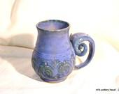 Stoneware mug - medium, curvy, mossy indigo unique tea mug pottery mug handmade wheel-thrown coffee mug