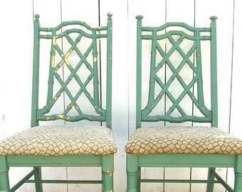 2 Faux Bamboo Chairs, Hollywood Regency Chinese Chippendale, Chinoiserie, Tropical Palm Beach, Local Pick Up Only