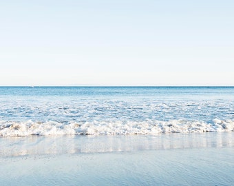 Blue White Coastal Art, Beach Waves, Malibu California, Large Wall Art, Minimalist, Ocean Decor, Coastal Living, California Beach House