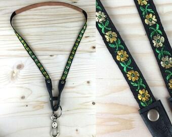 Lanyard Leather Phone Carrier Black Gold Flowers  Iphone keys pokemon go key holder badge id chain