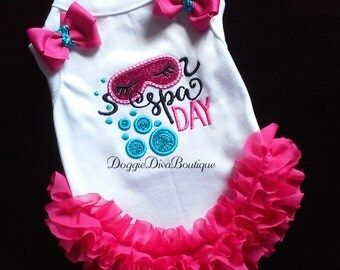 Dog T Shirt, Dog Top, Dog Tee, Spa Day embroidery XS, Small, Medium with or without bows or ruffles