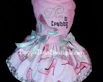 Dog Dress - Diva in Training - Pink Shoes Dress - Couture Dog Dress XS - Small - Medium