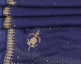 Vintage SILK Shawl/Stole. Regency Style. Ink Blue Chiffon, gilt embroidery.