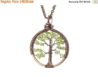 25% OFF Vacation Sale The Petite Tree of Life Antiqued Copper Necklace in Peridot.