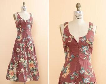 Dusty Rose Floral Dress M • Cotton Summer Dress • Floral Sundress • Mauve Dress • Drop Waist Dress • 90s Does 70s Dress | D521