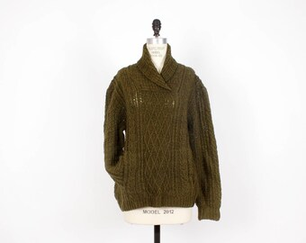 Olive Green Chunky Sweater with Pockets • Green Wool Knit Sweater • Slouchy Boho Winter Sweater • Cozy and Comfy Sweater  | T402