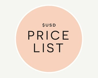 USD Price List // Wedding Invitations // Information Only (Do Not Purchase) // Expand 'Item Details' to View