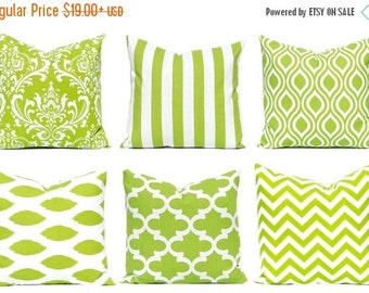 SALE Green Euro Sham - Decorative Pillow Covers - Green and White - Green Cushion Cover - Green Stripe Pillow - Green Chevron - Green Pillow