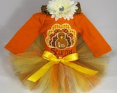 SALE Babys First Thanksgiving Outfit - I'm Stuffed - Girls Tutu Bodysuit and Headband Set - TG1302