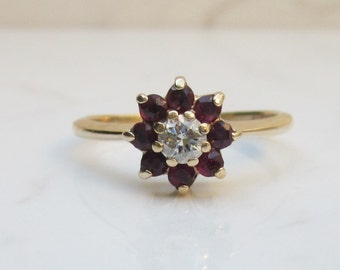 On Hold for Lauren, Payment Two- Vintage Alternate Engagement Ruby Diamond Flower Halo Ring in 14k Gold with .54 Total Gem Weight, Size 7