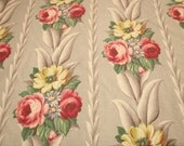 "Dove Gray Glen Court Vintage Barkcloth - 40"" Long x 44"" Wide - 8 Full Bouquets"