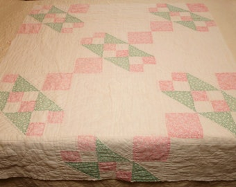 Pink and Green Calico Jacob's Ladder Vintage Quilt Piece - 41 x 34 Inches
