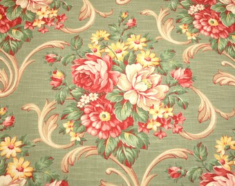 Lovely Peony Bouquets on Sage Green Vintage Barkcloth Fabric Piece - 47 Inches Long x 33 Inches Wide - 9 Bouquets
