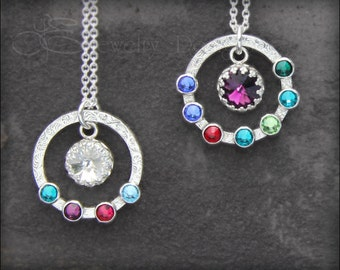 MOTHERS BIRTHSTONE NECKLACE - family necklace, grandmothers pendant, birthstone pendant, circle necklace, opal necklace