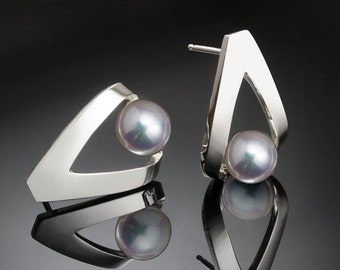 pearl earrings, June birthstone, Argentium silver, cultured pearl jewelry - 2470