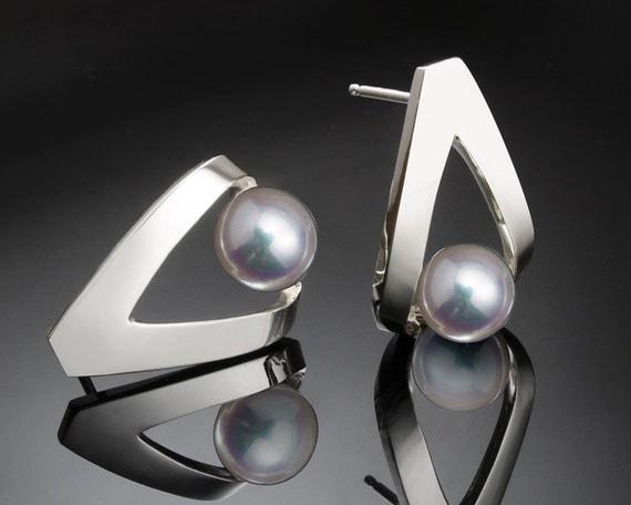 pearl earrings, June birthstone, Argentium silver, cultured pearl jewelry - 2470