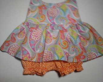 """Baby Alive  And Waldorf Doll Clothes Adorable Dress 10"""" 12"""" Or 15"""" Pink and Grey Paisley"""
