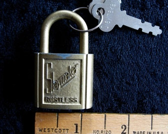 "Orig Old Playmaker Lock with 2 keys Very Old Collectible Works Well  2"" made In the USA"