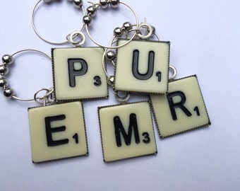 Scrabble Themed Beaded Glass Wine Charms ~ Set of 5 Wine Charms~ Housewarming Gift ~ Hostess Gift