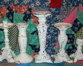 5 Chippy White Ornate Shabby Chic Candle Holders