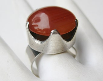 Vintage Ring Sterling Silver Carnelian Mid Century Modernist Studio Jewelry Ring