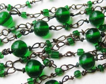 "Vintage 20s Green Czech Glass Bead Chain Art Deco Flapper 43"" Long Necklace"