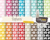 SALE: Elephant Digital Papers, Elephants Scrapbook Paper Patterns, Digital Backgrounds, Commercial Use, Instant Download