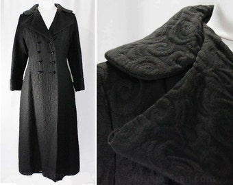 Size 10 Black Coat - Dramatic Black 1960s Mod Double Breasted Long Jacket - Medium - Chic 60s Outerwear - Ankle Length - Bust 36 - 47051