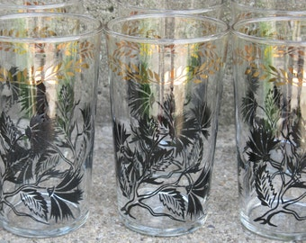 federal glass black and gold painted  tumblers 1940s thistle pattern set of 8