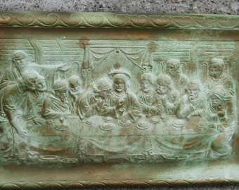 chalkware last supper wall hanging plaster last supper verdigris look old world look cottage chic shabby