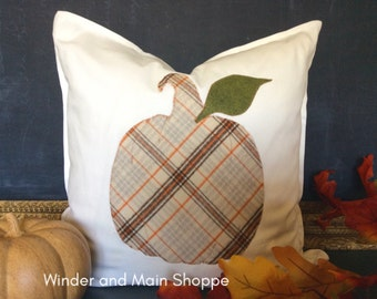 Plaid Pumpkin Decorative Pillow Cover- Autumn Plaid with Copper Metallic Embroidery.