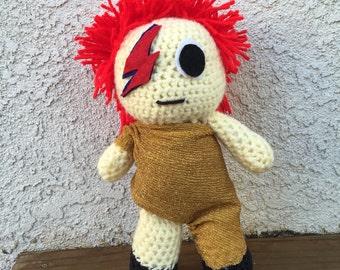 David Bowie inspired crochet doll